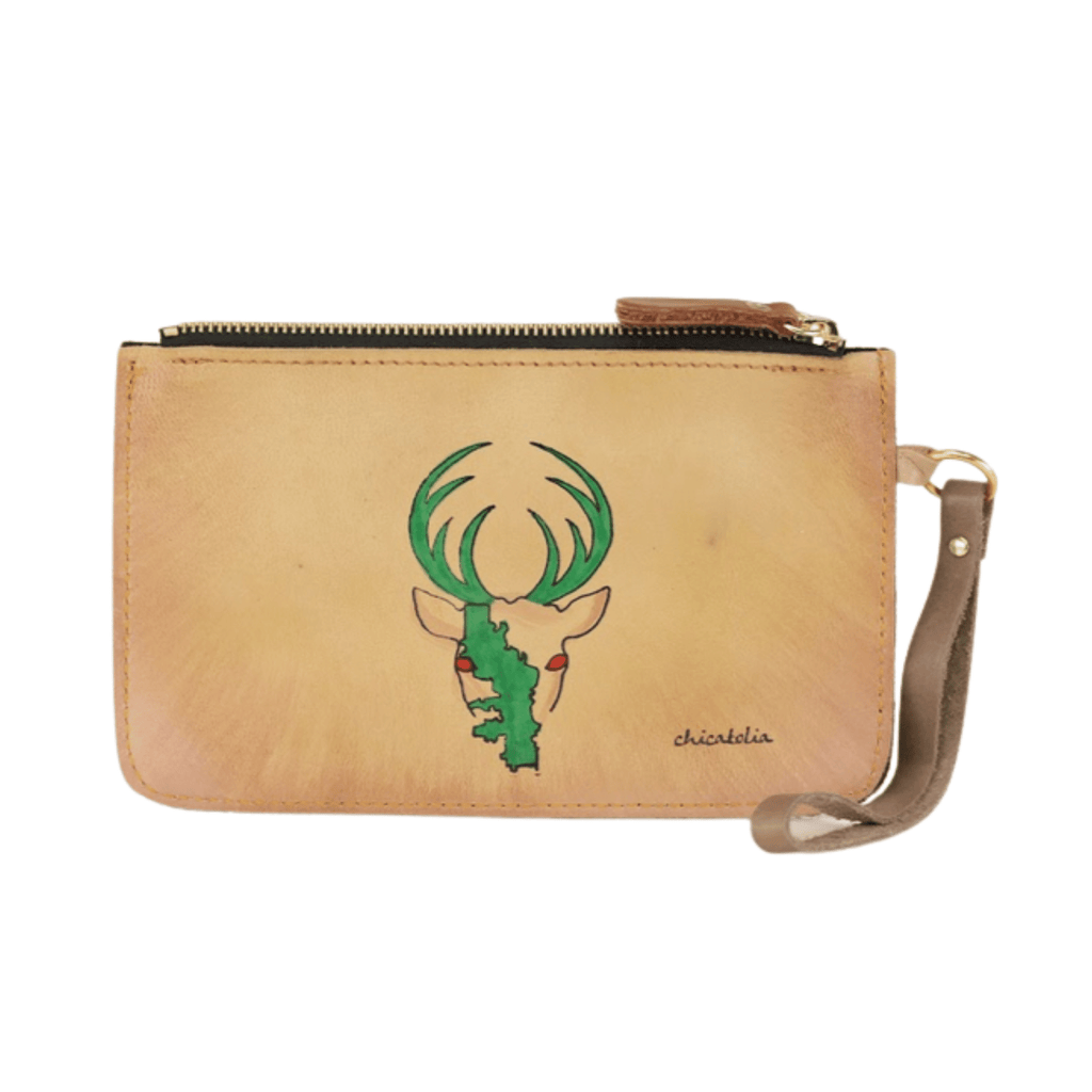 Deer Hand Painted Clutch Wallet 100% Handmade chicatolia.myshopify.comChicatolia