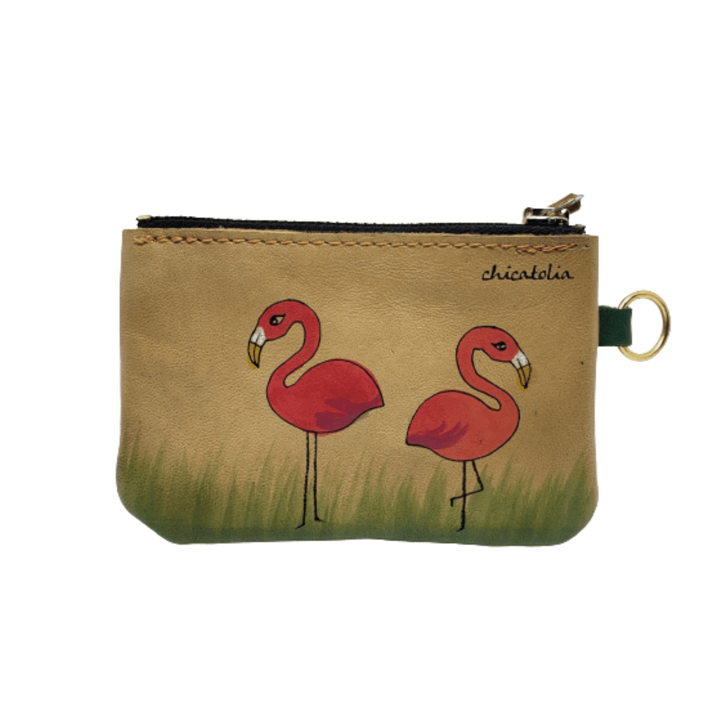 Flamingos Hand Painted Wallet 100% Handmade chicatolia.myshopify.comChicatolia