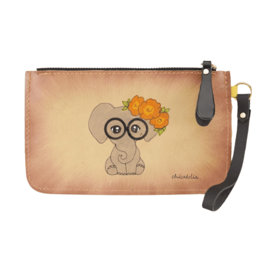Elephant-Glasses Hand Painted Clutch Wallet 100% Handmade - Chicatolia