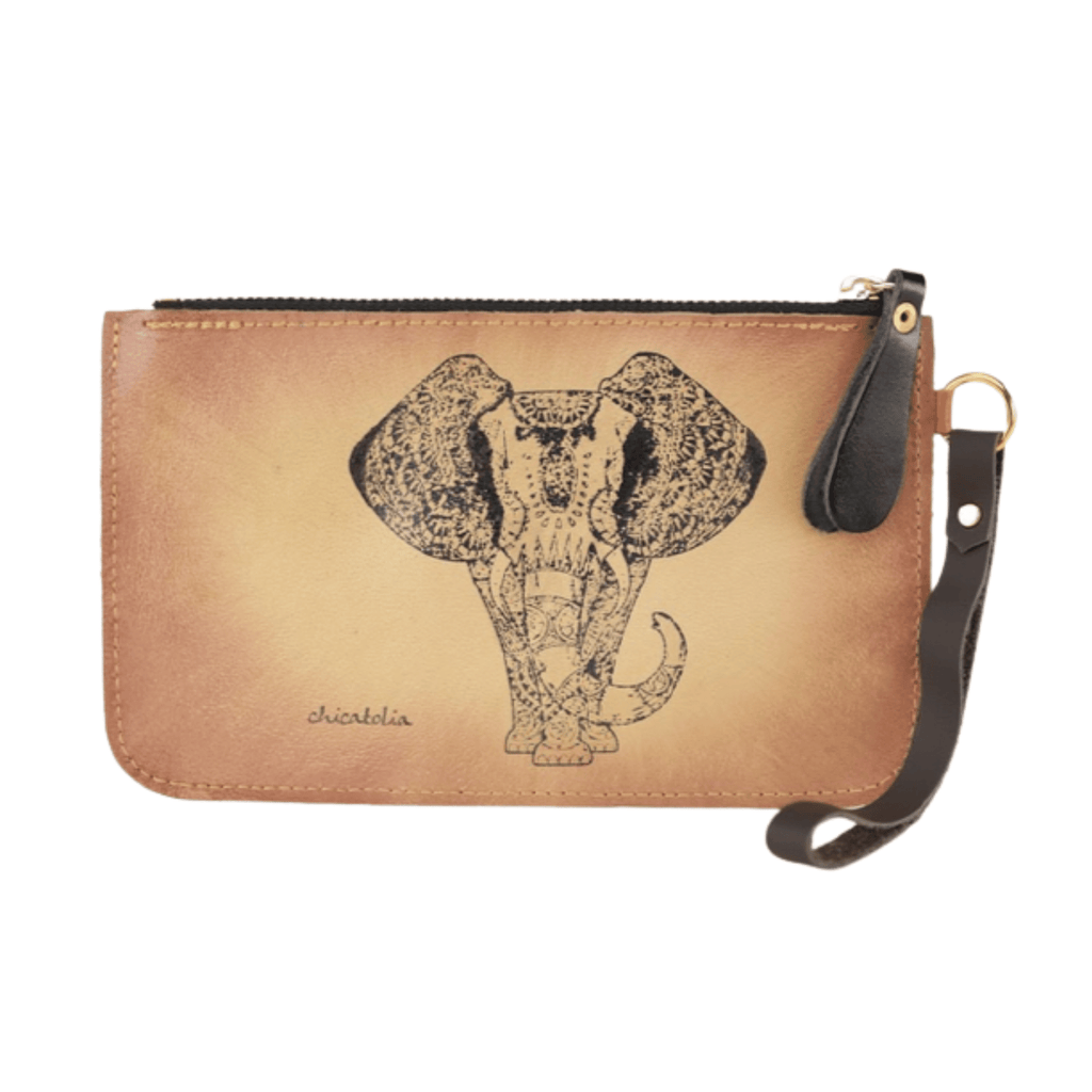 Elephant Hand Painted Clutch Wallet 100% Handmade - Chicatolia