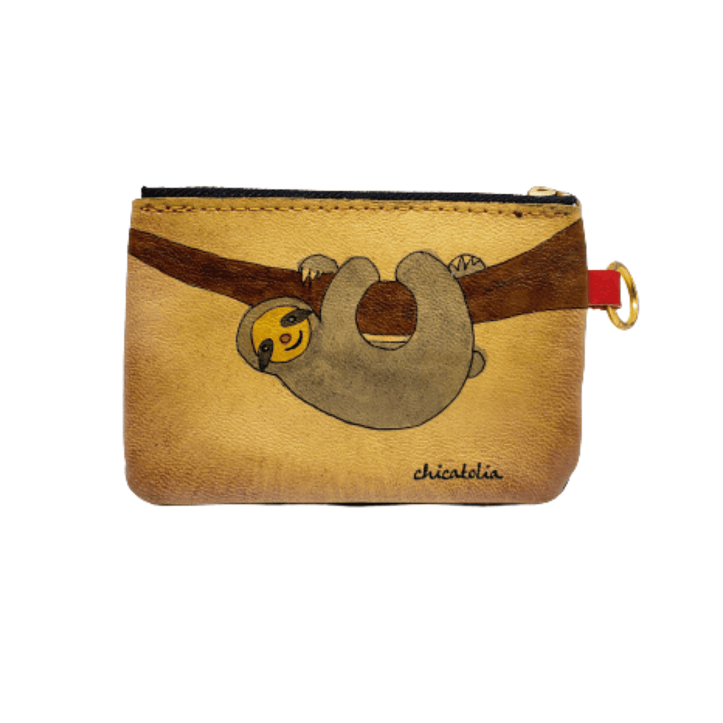 Sloth Hand Painted Wallet %100 Handmade - Chicatolia