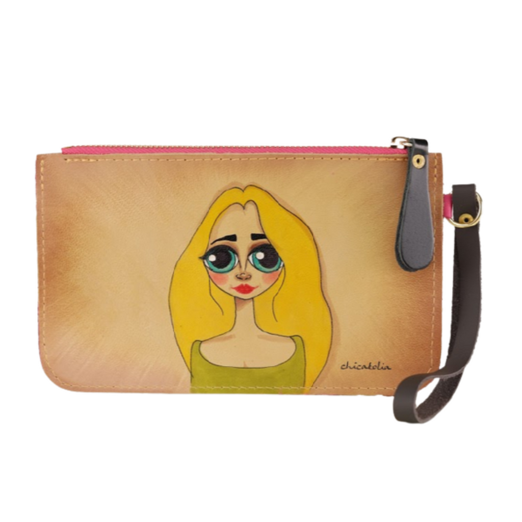 Blond Long Hair Hand Painted Clutch Wallet 100% Handmade - Chicatolia