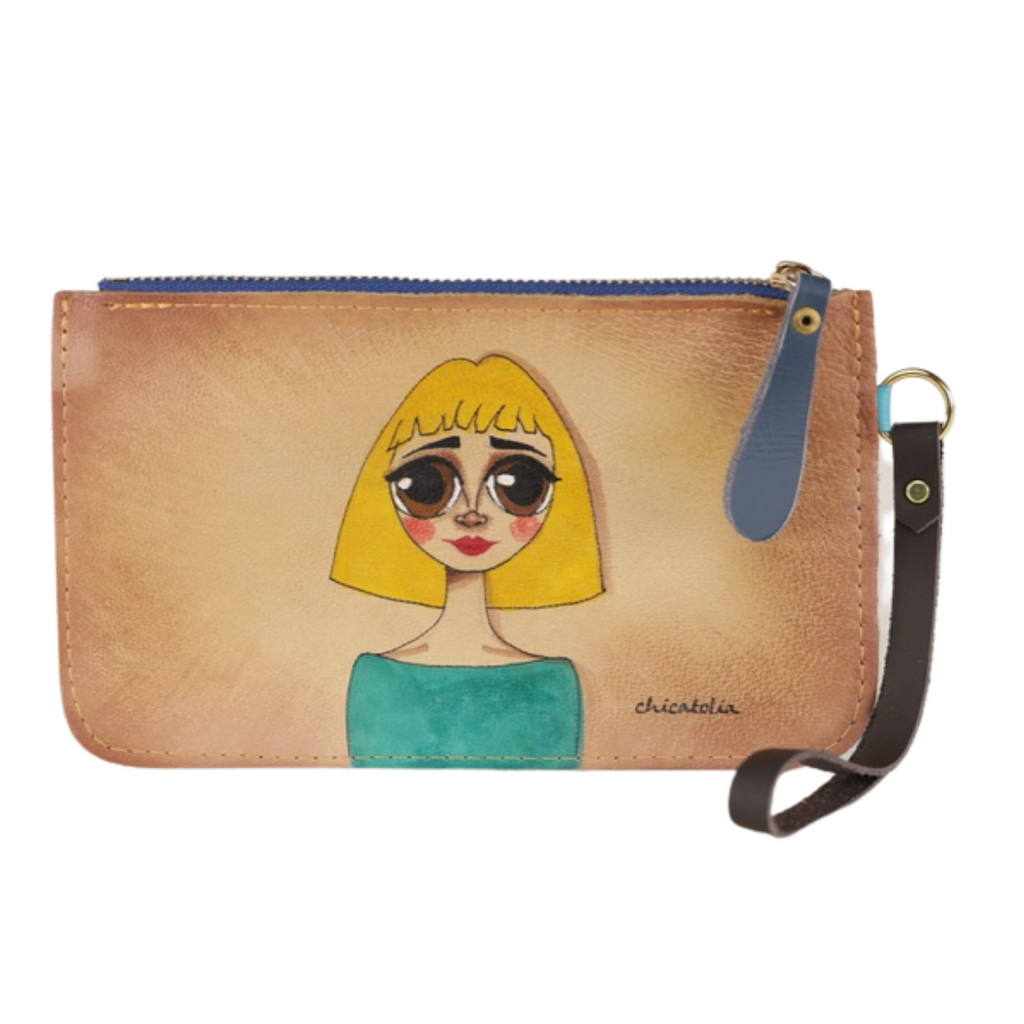 Blond Bob Hair Hand Painted Clutch Wallet 100% Handmade - Chicatolia