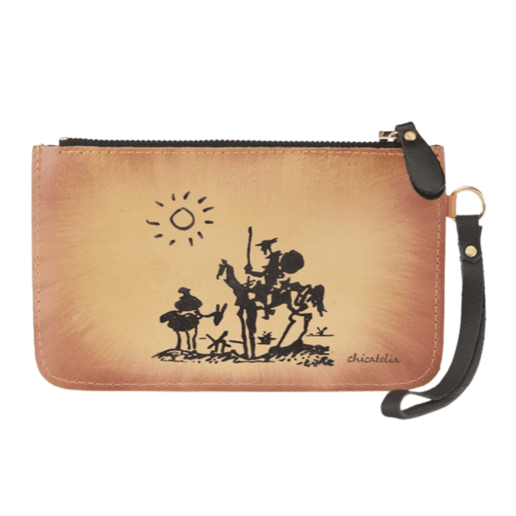 Don Quixote Hand Painted Clutch Wallet 100% Handmade - Chicatolia