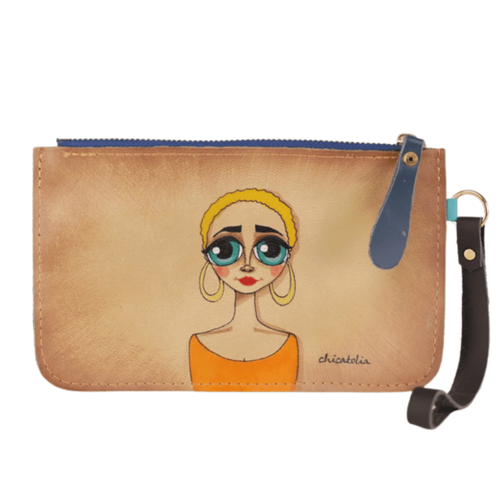 Blond Short Hair Hand Painted Clutch Wallet 100% Handmade - Chicatolia