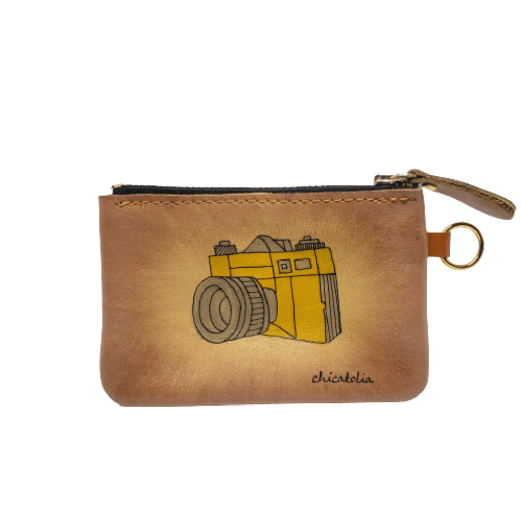 Camera Hand Painted Wallet 100% Handmade - Chicatolia