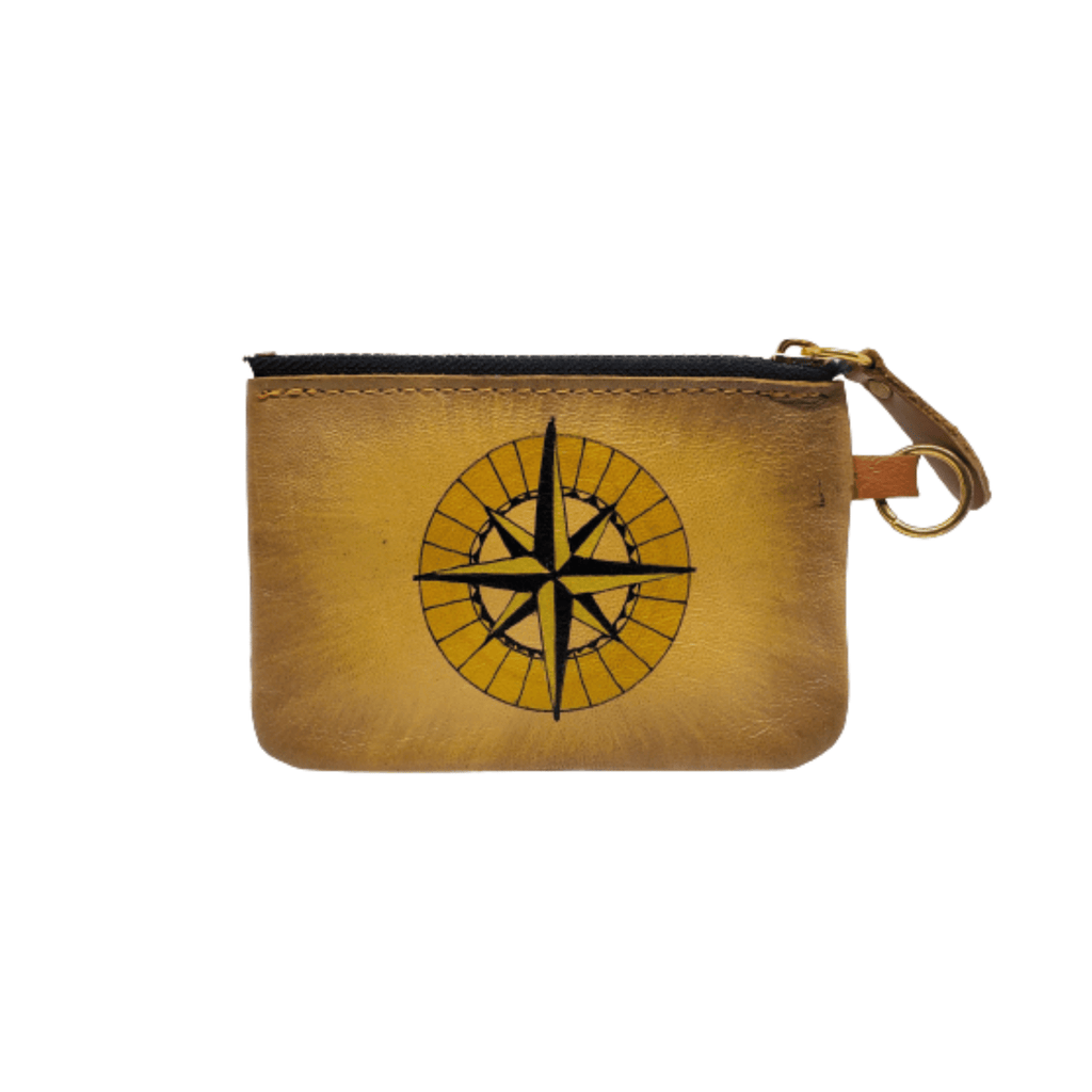 Compass Hand Painted Wallet 100% Handmade - Chicatolia