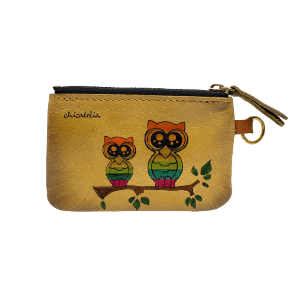 Colorful Owls Hand Painted Wallet 100% Handmade - Chicatolia