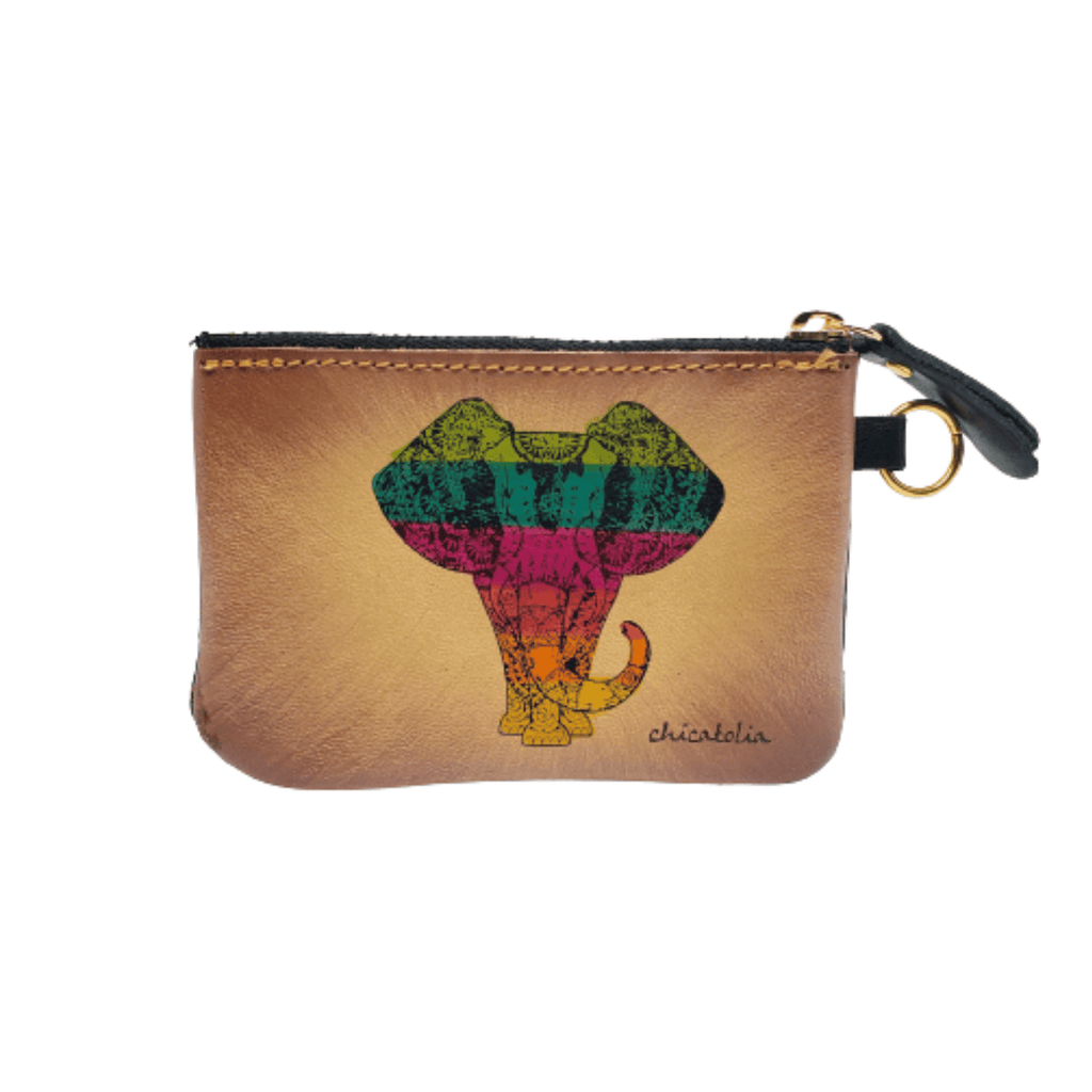 Colorful Elephant Hand Painted Wallet 100% Handmade - Chicatolia