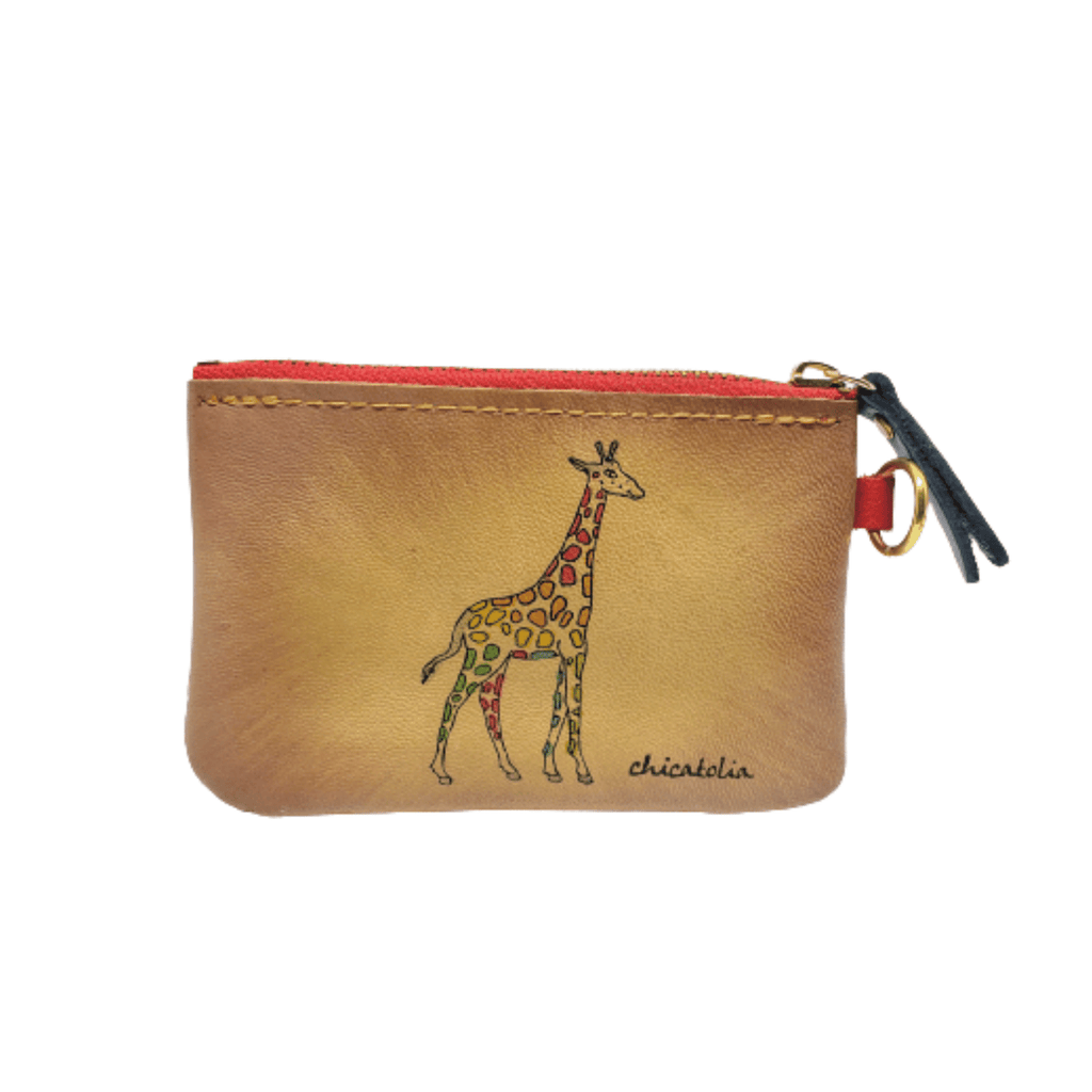 Colorful Giraffe Hand Painted Wallet 100% Handmade - Chicatolia