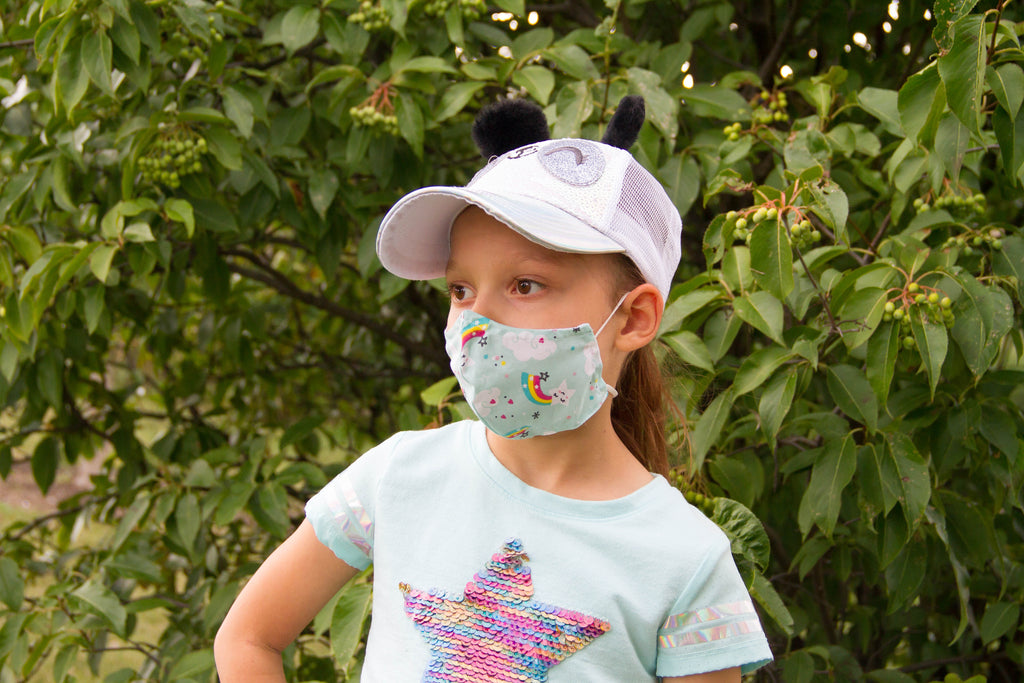 Dream Sky - Organic Cotton Face Mask for Kids - Colorful Fabric Designs - Antibacterial and Antifungal - Chicatolia