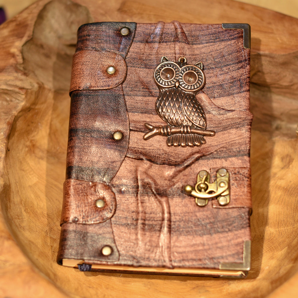 Belt Strap Leather Journal - Large Owl - Chicatolia