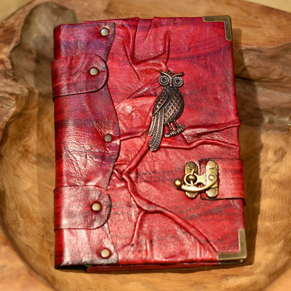 Belt Strap Leather Journal - One Little Owl - Chicatolia