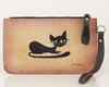 Black Cat Hand Painted Clutch Wallet 100% Handmade - Chicatolia