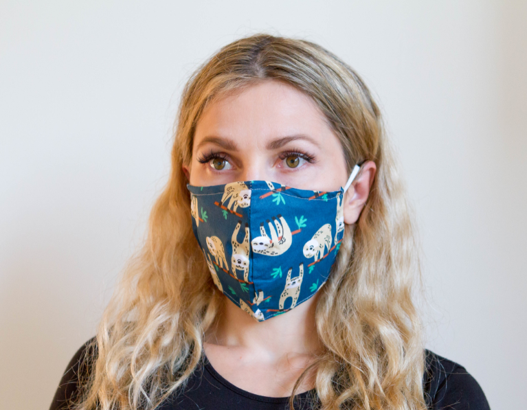 Sloth - Organic Cotton Face Mask - Colorful Fabric Designs - Antibacterial and Antifungal - Chicatolia