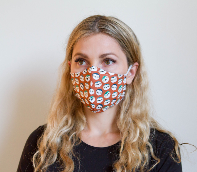Sloth Face - Organic Cotton Face Mask - Colorful Fabric Designs - Antibacterial and Antifungal - Chicatolia