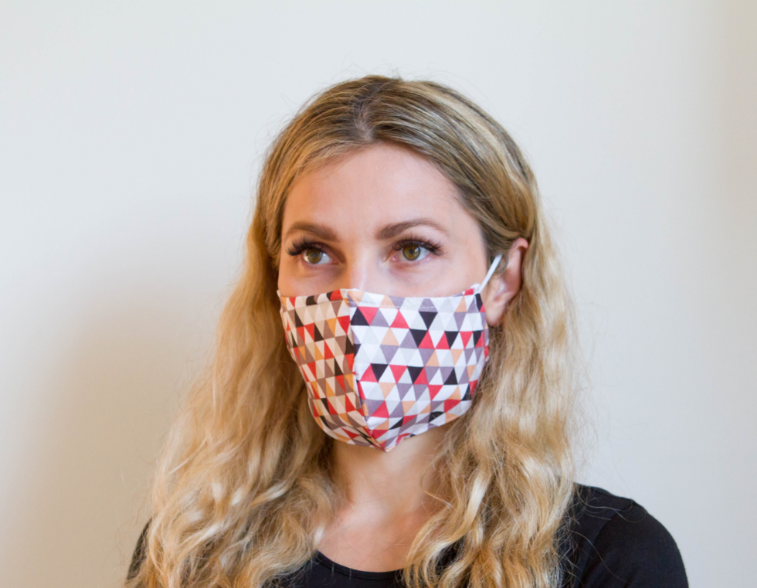 Triangle Sequence - Organic Cotton Face Mask - Colorful Fabric Designs - Antibacterial and Antifungal - Chicatolia