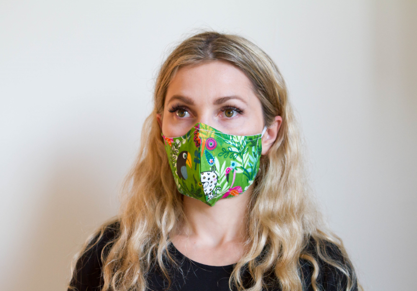 Jungle Green  - Organic Cotton Face Mask - Colorful Fabric Designs - Antibacterial and Antifungal - Chicatolia