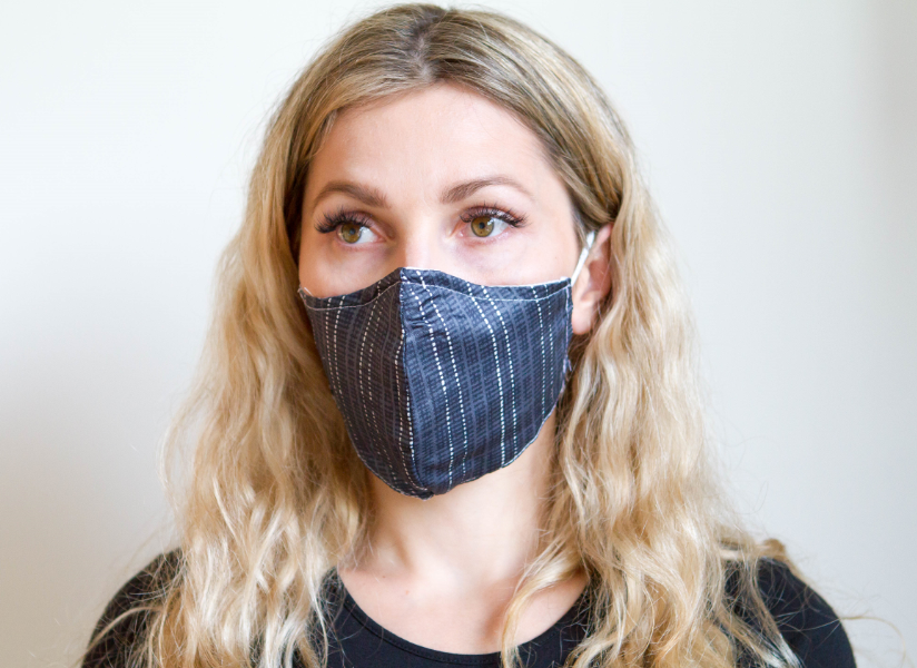 Black Grey Stripes - Organic Cotton Face Mask - Colorful Fabric Designs - Antibacterial and Antifungal - Chicatolia