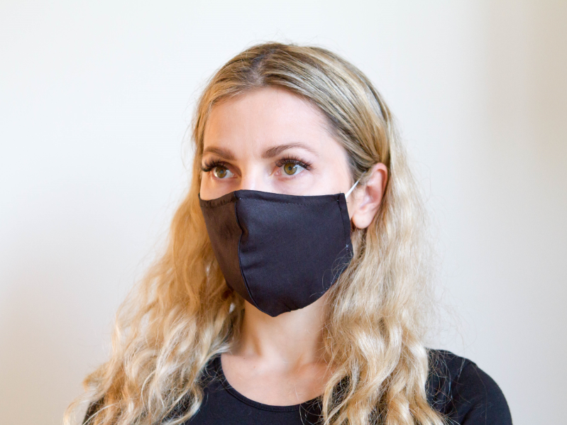 Black Solid - Organic Cotton Face Mask - Colorful Fabric Designs - Antibacterial and Antifungal - Chicatolia