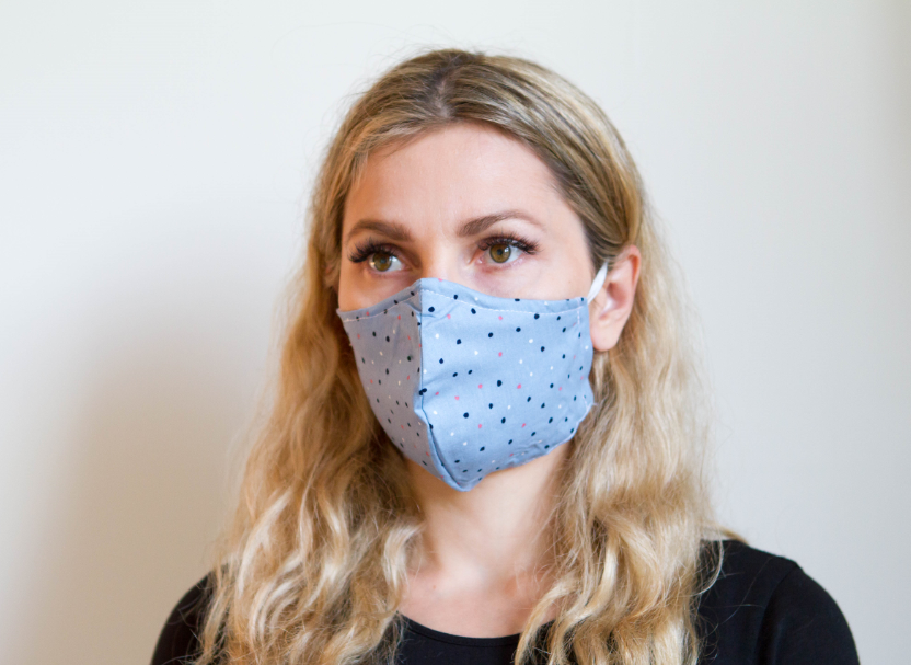Dots Blue - Organic Cotton Face Mask - Colorful Fabric Designs - Antibacterial and Antifungal - Chicatolia