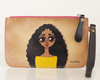 Black Curly Long Hair Hand Painted Clutch Wallet 100% Handmade - Chicatolia