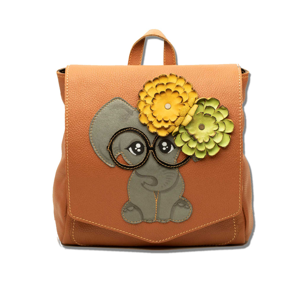 Elephant with Glasses -Leather Backpack - Chicatolia