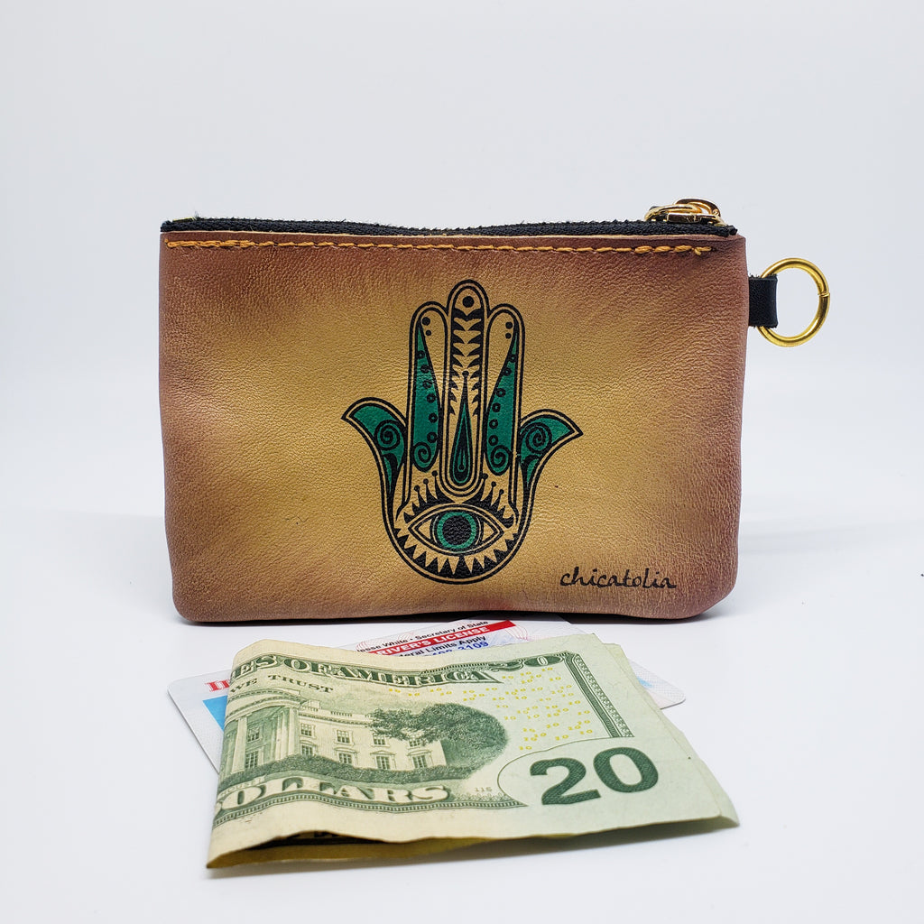 Hamsa Hand Hand Painted Wallet 100% Handmade - Chicatolia