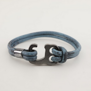Stainless Steel Blue Hook Leather Bracelet - Unisex-100% High Quality Genuine Leather- Waterproof - Chicatolia