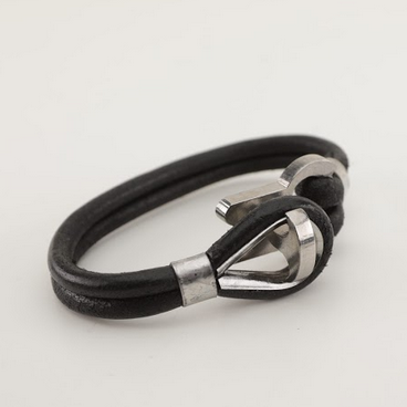 Stainless Steel Anchor Black Leather Bracelet-Unisex-100% High Quality Genuine Leather - Waterproof - Chicatolia