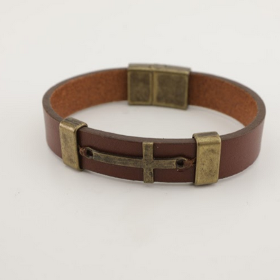 Cross Leather Bracelet - Unisex - 100% High Quality Genuine Leather- Waterproof - Chicatolia