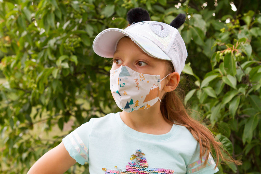 White Forest - Organic Cotton Face Mask for Kids - Colorful Fabric Designs - Antibacterial and Antifungal - Chicatolia