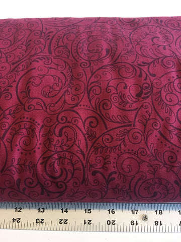 "108"" Wide Quilt Backing #34, Charleston by Studio E, burgundy, by the yard"
