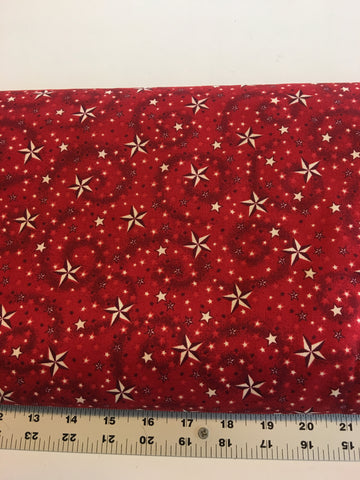 "108"" Wide Quilt Back, #13 American Dreams by Henry Glass, red, by the yard"