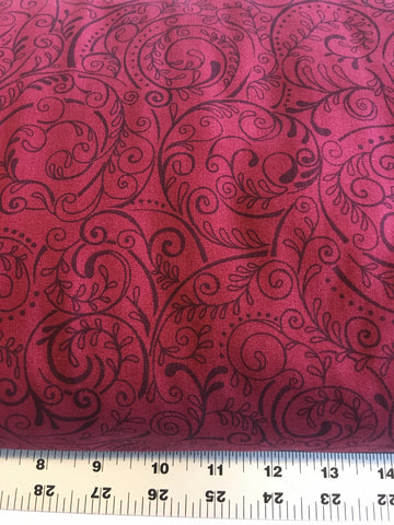 "3 yards, 108"" Wide Quilt Backing, #34-QB, Charleston by Studio E, burgundy red"