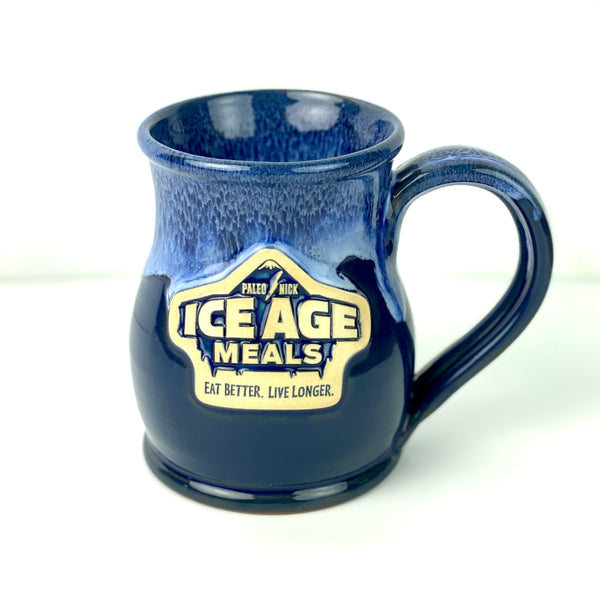 IAM Hand Crafted Tall Belly Mug Midnight w/ Sky Blue White