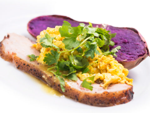 Smoked Pork Belly and Eggs with Organic Purple Sweet Potato (Box)