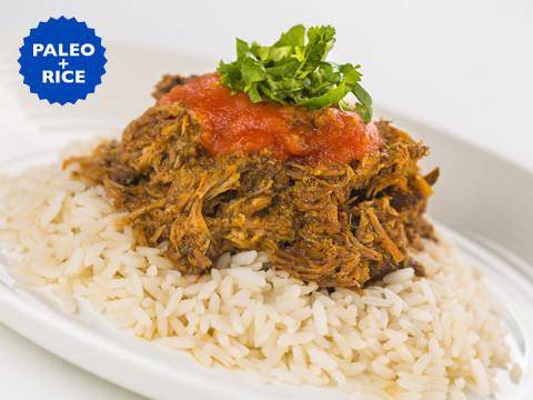 Pork Carnitas with Salsa Roja and Rice