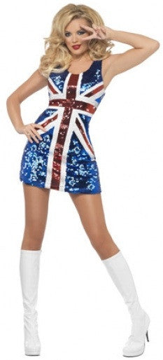 UK Flag 90s Ginger Spice Austin Powers Costume  sc 1 st  Costume Closet & Sexy Austin Powers Ginger Spice UK Flag | Fancy Dress Costume | Pop ...