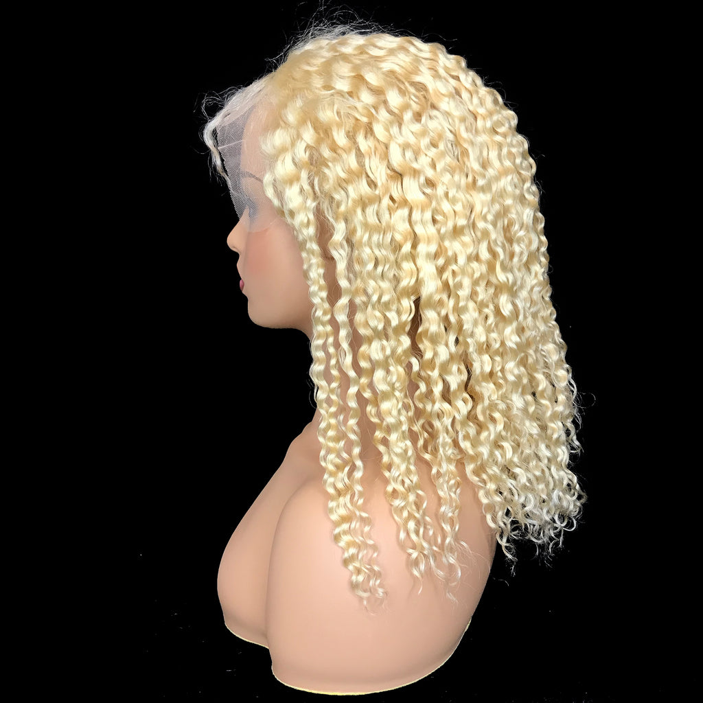"Remy Jerry Curl  13""X 4""Lace Frontal Bob Wig  Blonde #613 - eHair Outlet"