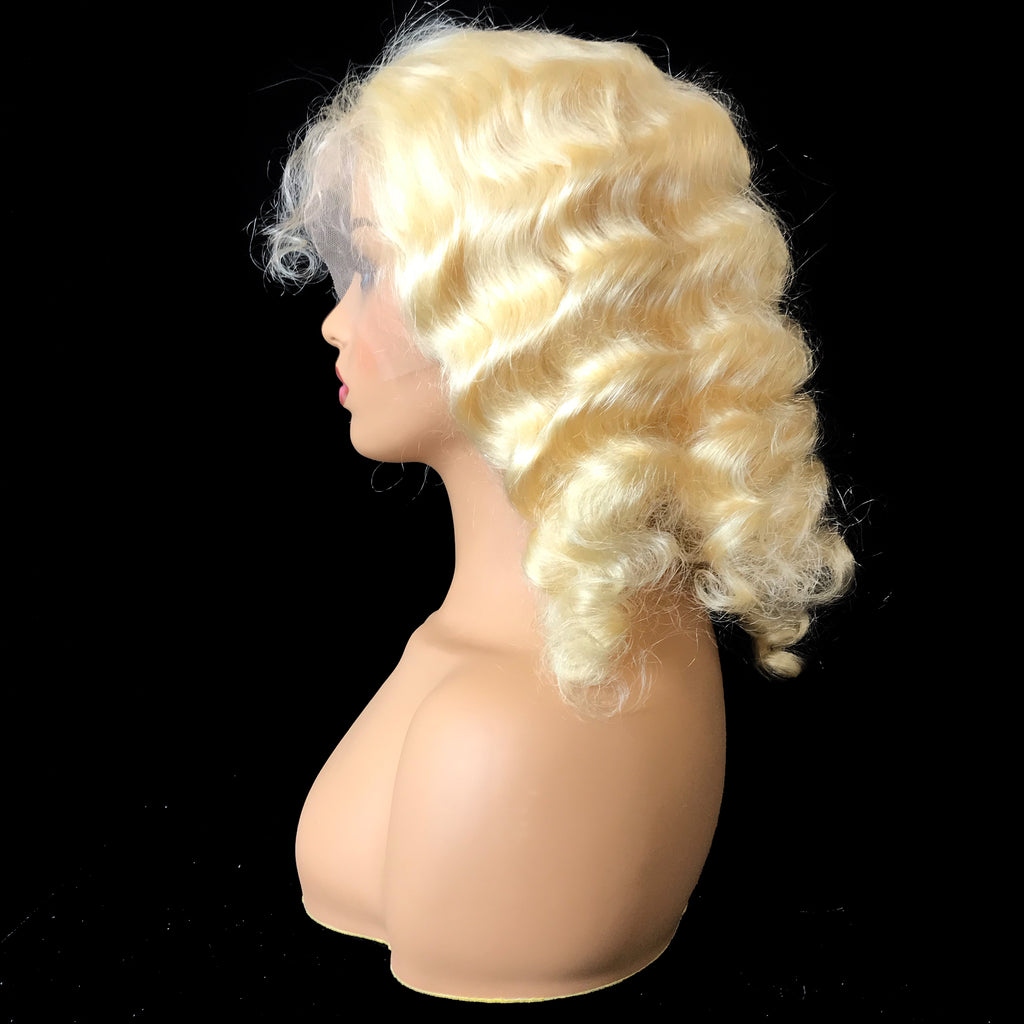"Remy Deep Wave  13""X 4""Lace Frontal Bob Wig  Blonde #613 - eHair Outlet"