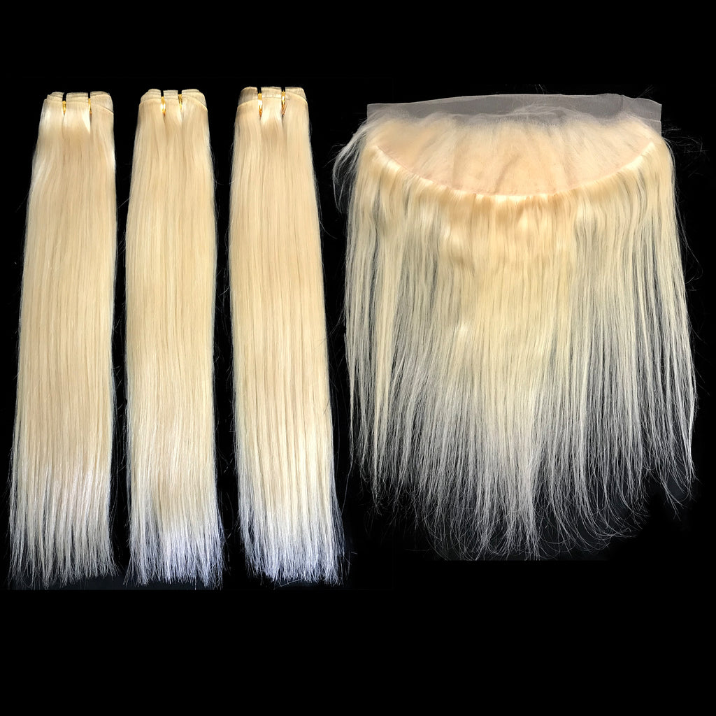 9A Malaysian Platinum Blonde  3 Bundle Set Straight Virgin Human Hair Extension w/ Lace Frontal - eHair Outlet
