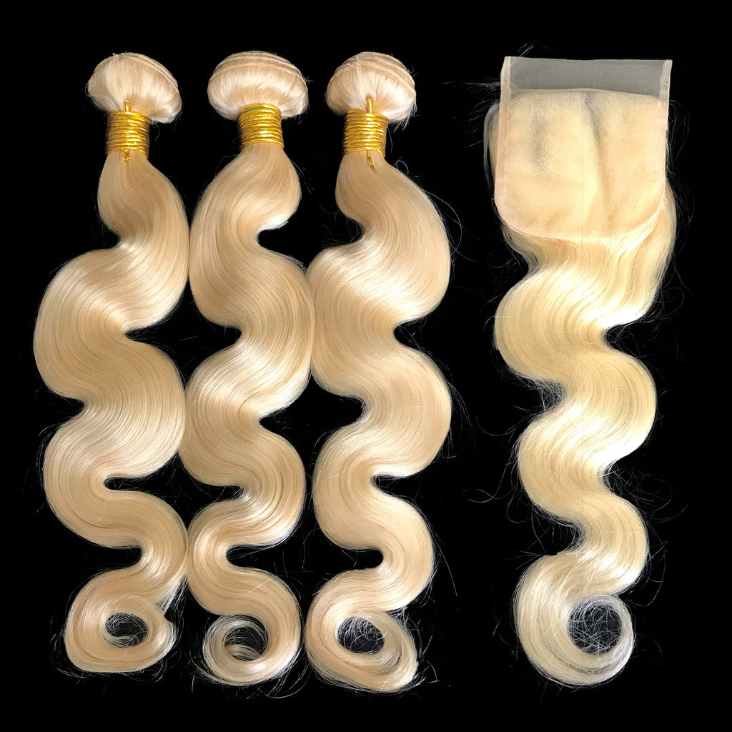"9A Malaysian Platinum Blonde  3 Bundle Set Body Wave w/4""x4"" Lace Closure - eHair Outlet"