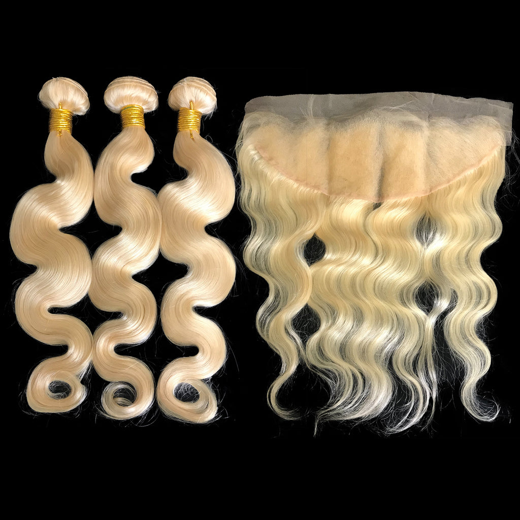 9A Malaysian Platinum Blonde  3 Bundle Set Body Wave Virgin Human Hair Extension w/ Lace Frontal - eHair Outlet