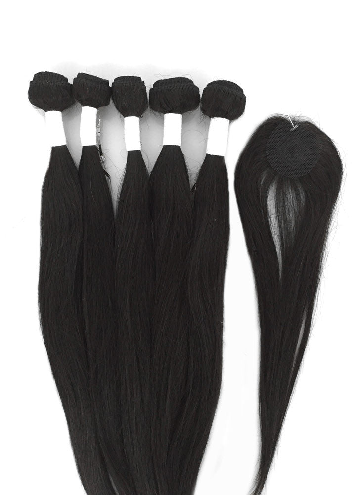 6pc 8A Malaysian Straight Human Hair Extension Bundle Pack w/ Closure - eHair Outlet