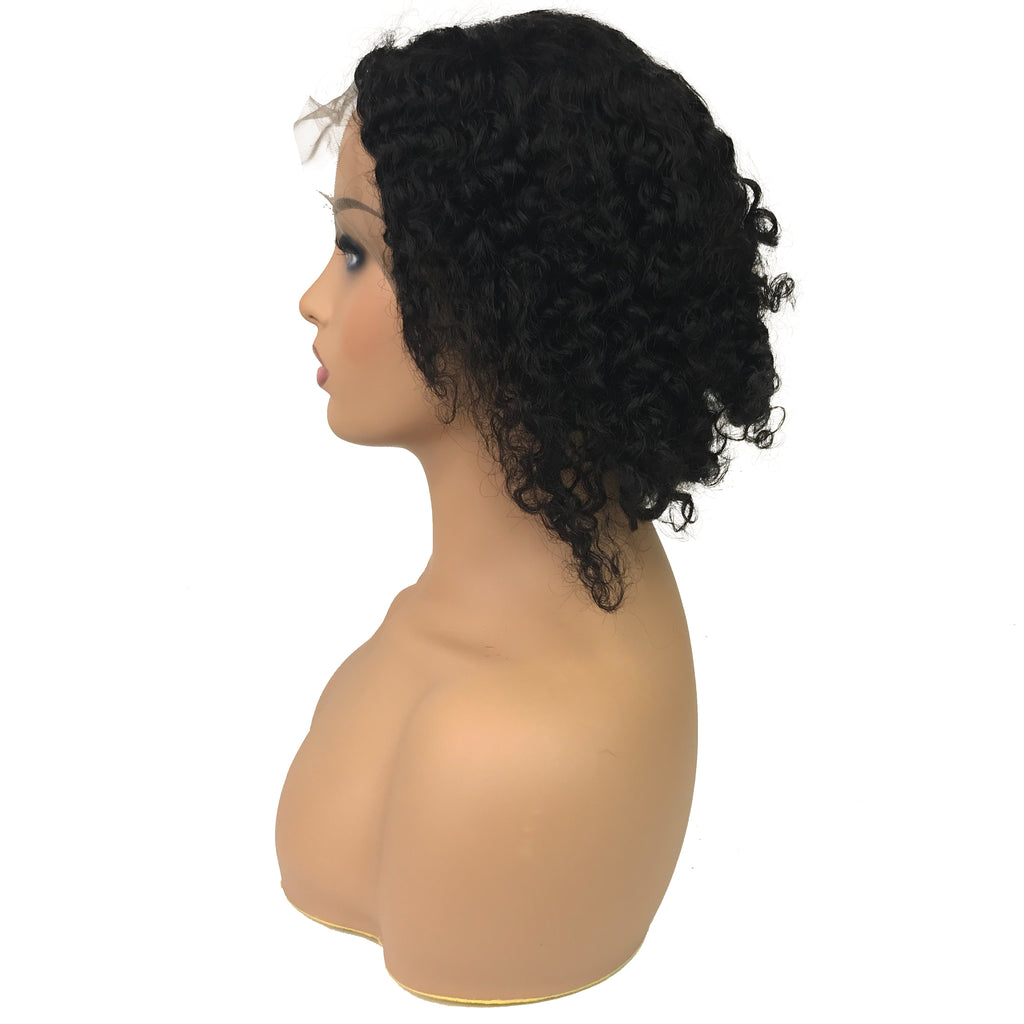 "Remy Jerry Curl 13""X 4""Lace Frontal Bob Wig  Natural - eHair Outlet"