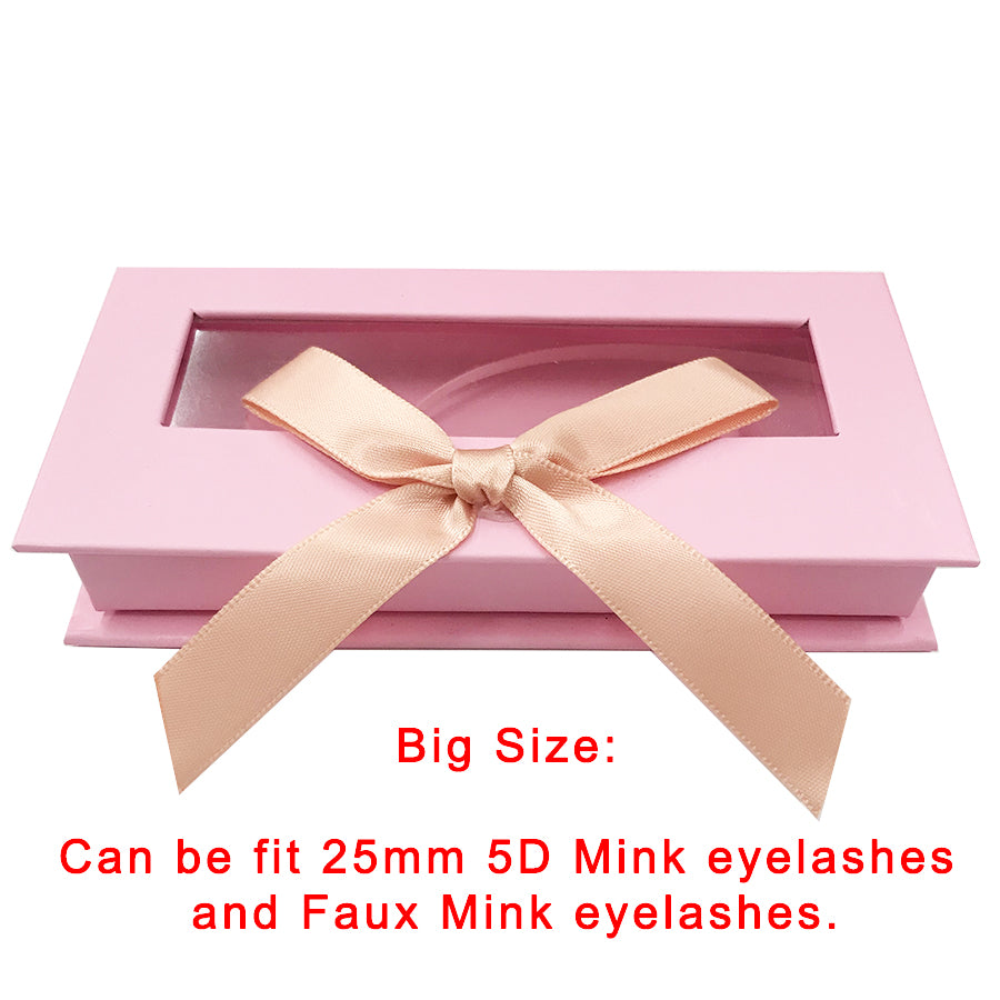 Pink Bowknot Empty Eyelash Box Gift Box Full Window Big - eHair Outlet