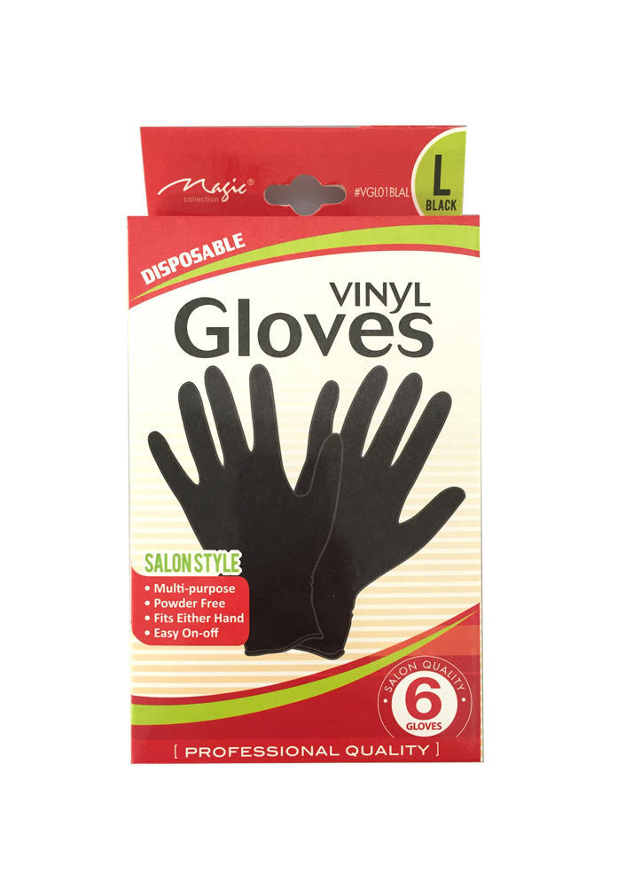 Solan Style Multi Purpose Disposable Black Vinyl Gloves Pack of 6-eHair Outlet