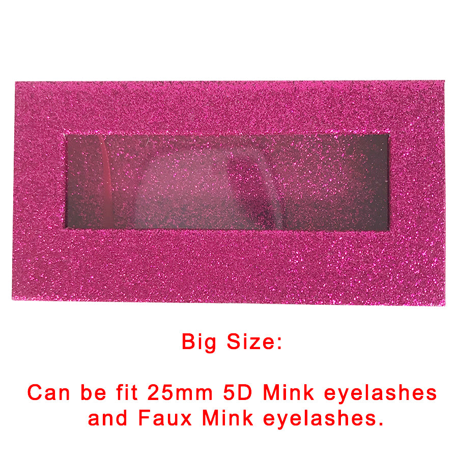 Glitter Hot Pink Empty Eyelash Box Gift Box Full Window / Small &Big - eHair Outlet