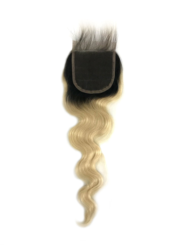 "Body Wave Color Platinum Blonde w/ Dark Root Lace Closure 4""x4"" - eHair Outlet"